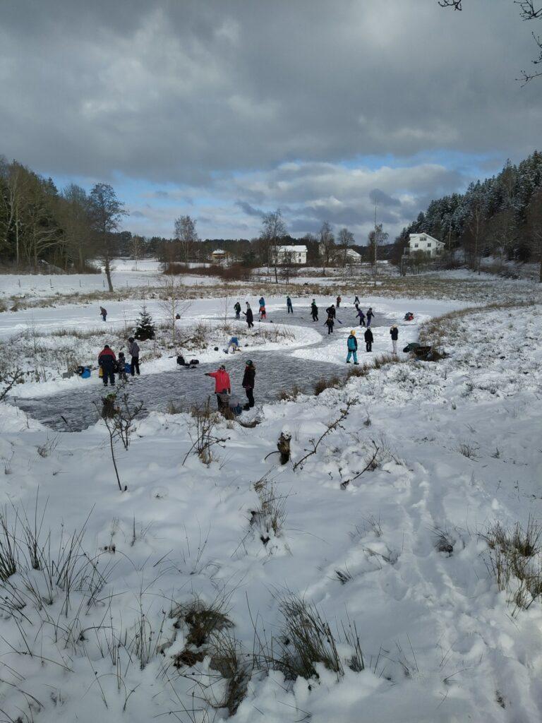Skridskor vid Klosterdammen 2021. Glädjande att se så många spontanåka på den fina isen.